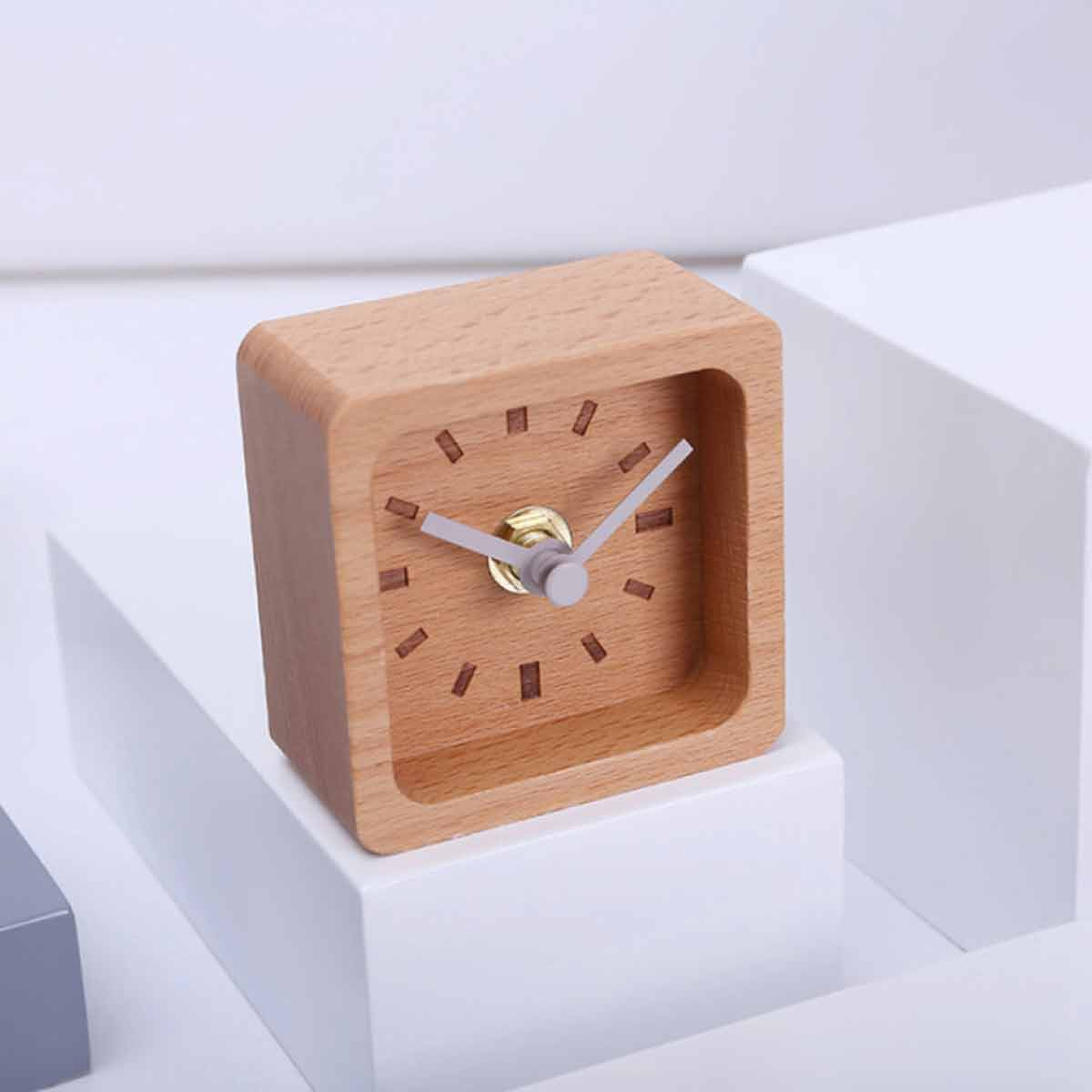 Nordic square solid wood clock - grey hands